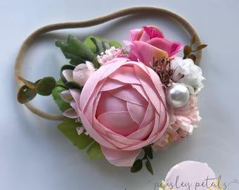 M2M WDW Hydrangea, Hydrangea halo, pink floral headband, pink peony headband, neutral halo, paisley petals