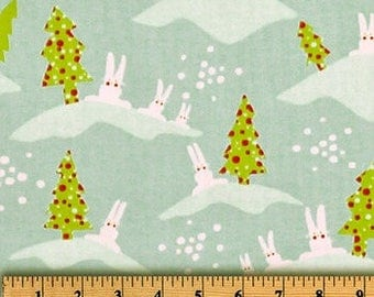 Christmas Bunnies Fabric by the BOLT Wholesale Premier Prints rabbits trees white cotton home decor curtains drapes pillows 30 yards!