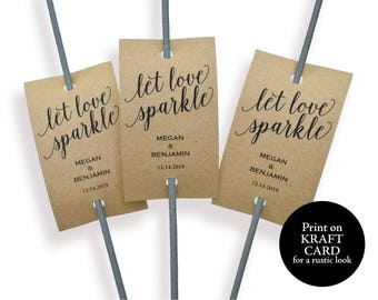 Rustic Wedding Sparkler Tag, Let Love Sparkle, Wedding Sparkler Tags, Sparkler Send Off, Printable Sparkler Tags, Instant Download, MM01-2
