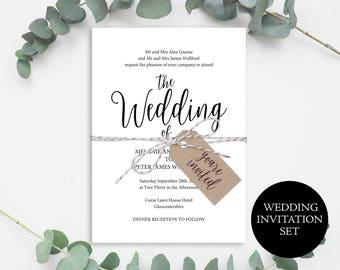 Wedding Invite Template, Rustic Invitation Set, Wedding Invitation, Invitation Printable, Wedding Invitation Set, Instant Download, MM02-1