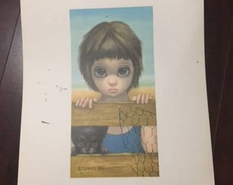 Walter Margaret Keane Vintage WATCHING Lithograph Print 1962 BIG EYES