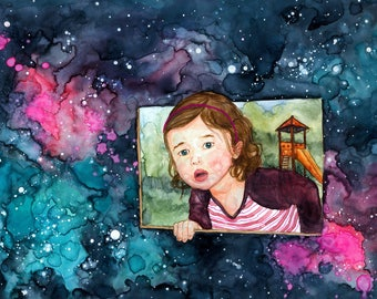 Art Print, Watercolor Illustration, Little Girl Playing, Starry Sky, Home decor