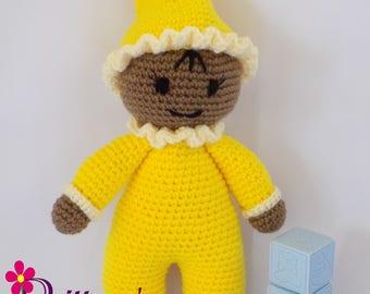 Baby Girl Doll / Crochet Baby Girl Doll / My First Doll / Stuffed Baby Girl Yellow Doll / Plush Yellow Baby Girl Doll / Crochet Doll