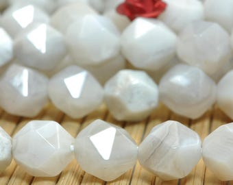 47 Pcs of Natural White Crazy Lace Agate Faceted nugget beads in 8mm