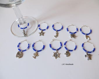 wine glass charm set sea beach wine champagne glass decorations wine markers - Beach Decorations