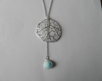 Necklace silver leaf pendant