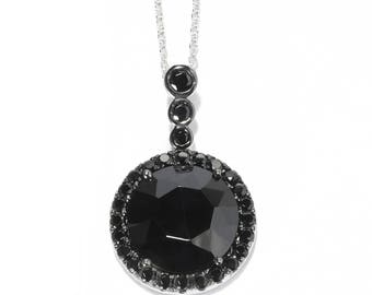 "Sterling Silver 6.39ctw Black Spinel Round Pendant 1.1""L With 18"" Chain"