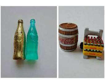 Vintage Coca-Cola Miniatures Glass Bottle Brass Bottle or Mini Barrel and Soda Cart Nostalgia Retro Classic Soda Pop Novelty Accessory Charm