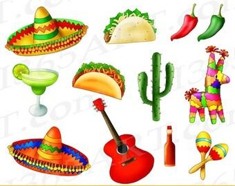 50% OFF Mexican Fiesta Clipart, Cinco De Mayo, Taco Tuesday, Mexican clip art, taco party, tacos, digital, invitations, PNG, Commercial