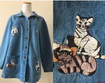vintage 90's DENIM CAT LADY jacket - shirt, medium