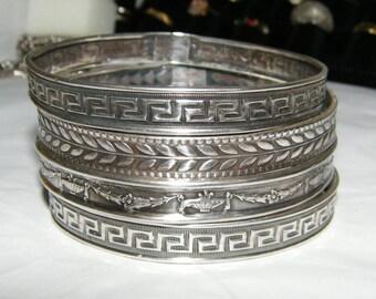 Vintage Sterling Silver Bangle Bracelets - Set of 4
