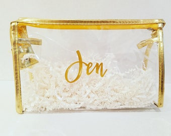 Bridesmaid & Maid of Honor Bachelorette Clear Bag with Gold Trim