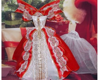 """Barbie Clothes. """"Ribbon Candy Gown"""" Vintage Barbie Christmas Dress, Bow Shrug, Petticoat, & Red Shoes. Clothes only, doll not included."""