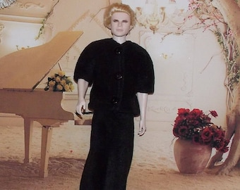 """SALE Black Pajamas for 12"""" to 13"""" male fashion dolls. Handmade (clothes only, Ken doll not included)"""