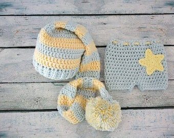 baby elf hat and shorts - newborn pixie hat with pompom - crochet baby elf hat - blue and yellow elf hat - baby shower gift - ready to ship