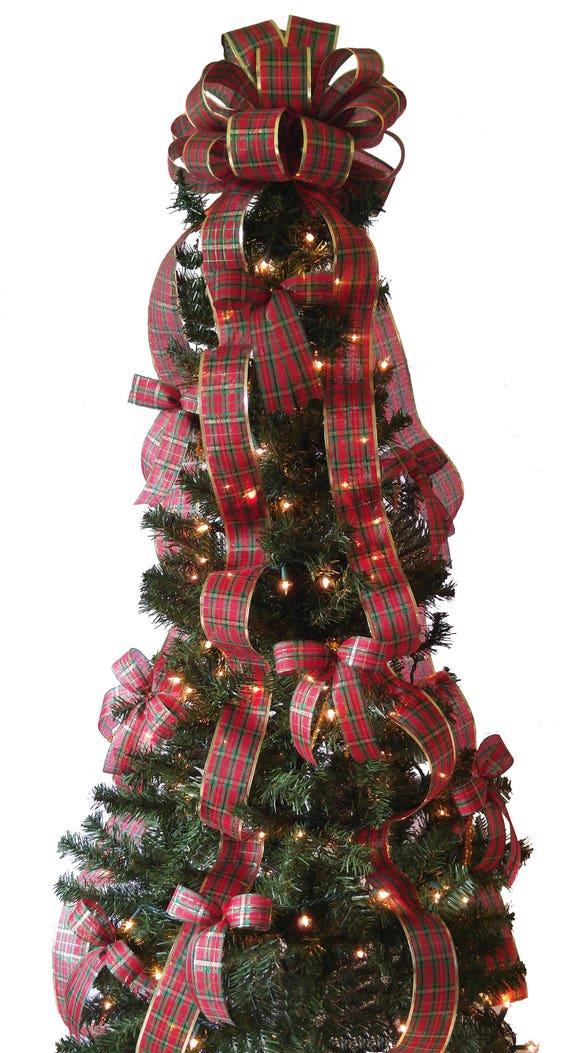Plaid Christmas Tree Decorations Set Christmas Tree Topper