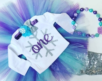 Winter onederland birthday outfit / Winter first birthday outfit / Snowflake birthday outfit / Silver purple and aqua birthday outfit