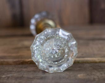 Antique Glass Door Knob, Glass door knob set, antique door hardware, glass door knob, architectural salvage, salvage door handle