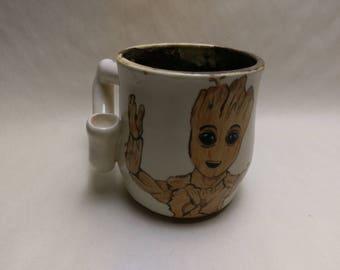 """WAKE and BAKE Pipe MUG - Guardians 2 Inspired """"Baby Groot"""" - Handmade Ceramic #825"""