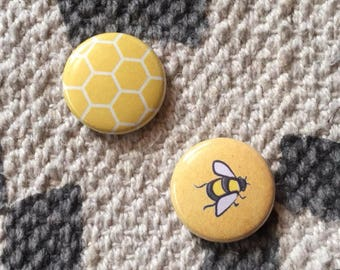 Honeycomb and Bee // Button Pin Set // Valentine's Day