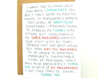 Awkward Thank You Card, Funny but Touching