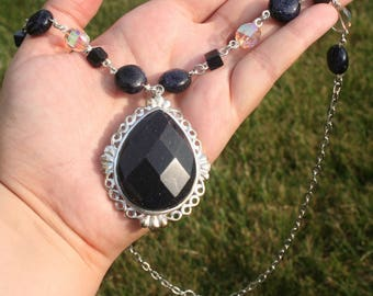 Stars of Midnight Blue Goldstone Necklace