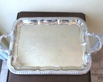 """Vintage Silver Serving Tray, 1980's Golden Crown Silver Plated on Steel Large Ornate Serving Tray Made in Hong Kong 18"""" x 13"""" w/Handles"""