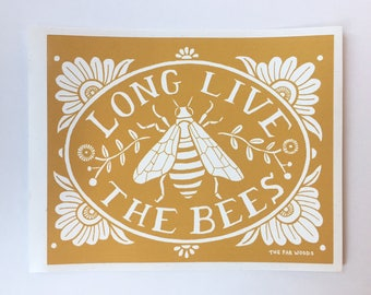 Long Live the Bees Stickers - Eco Art, Sticker Pack, Sticker Art, Laptop Sticker for Laptop Art sticker, water bottle sticker, vinyl