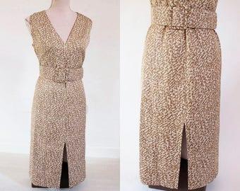 Stylish Vintage Dress 60s - Belted Mad Men style Vintage Dress.