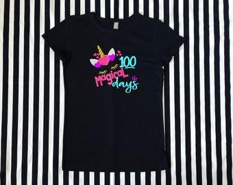 100 Magical Days Of School Unicorn Glitter Youth Tee