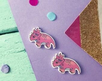 Dinosaur earrings / dinosaur gift / Pink Triceratops earrings / cute dinosaur lover gift