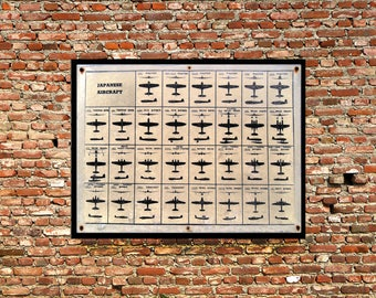 Reprint of a WWII Vintage Japanese Airplane Identification Chart