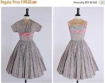 ON SALE Vintage original 1950s 50s floral print Horrockses dress and matching bolero jacket UK 6 Us 2 Xs
