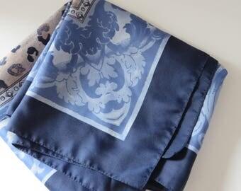 John Lewis vintage 1990's blue and beige scarf