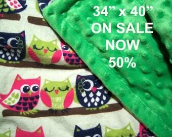 Owl Minky Blanket - READY TO SHIP - 34 x 40 Baby Blanket - Soft Minky Baby Blanket - Owl Blankie - Minky and Flannel Blanket
