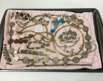 Lot #2 Costume Jewelry Silver/Goldtone Coins Cross Chains Bracelets Wear/Repair Craft Supplies