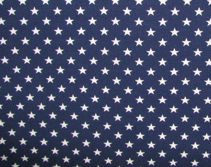 Blue and White Americana Stars by Springs Cotton Fabric 1/2 Yard Cut New
