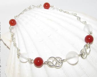 Handmade carnelian and rock crystal bracelet on sterling silver 935 by Nathalyne