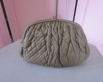 "1980s Unused Quilted Taupe Leather Handbag by ""Brio, New York"""