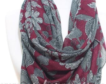 Floral Printed Burgundy Grey Scarf Woman Winter Accessories Winter Scarf Shawl Womens Winter Fashion Christmas Gift Ideas For Her For Mom
