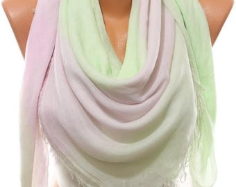 Pastel Green Lilac So Soft Cotton Spring Summer Scarf Beach Wrap Cowl Pareo Women's Fashion Accessories Mother's Day Gifts Idea For Her