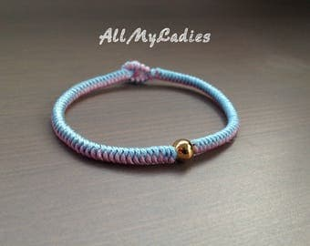 Light blue and light pink jade bead with gold plated wire woven Bracelet 14K, everyday jewelry
