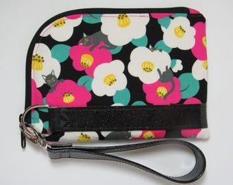 Wristlet or Purse with Detachable Wrist Strap in Pretty Japanese Import Fabric with Flowers and Cats / Kitties and Glitter Vinyl Accents