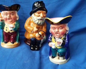 3 Vintage Large Character Toby Jugs Burlington…Oyez the Singer Fisherman