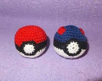 Handmade-Cat-Toy-Pokeball-Great-ball-crochet-with-catnip-2-pc-Pokemon