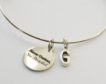 Nevertheless She Persisted Bangle, Nevertheless She Persisted Bracelet, She Persisted Jewelry, She Persisted Accessories, Feminist Bangle