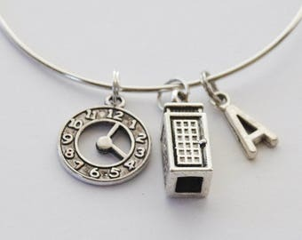 Doctor Who Bangle, Tardis Bracelet, Whovian Bracelet, Doctor Who Charm Bracelet, Tardis Bangle, Doctor Who Bracelet, Fan bracelet