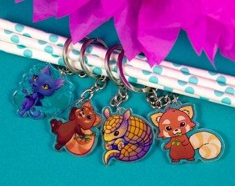 Cute Keycharm Red Panda, Armadillo, Cat Nekomancer - Acrylic Keychain