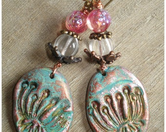 Spirit of water-earrings polymer clay, Czech beads Bohemian, handmade