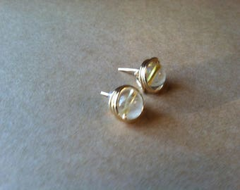 Wire wrapped citrine stud earrings